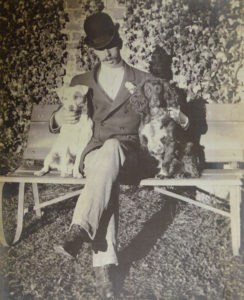 Freddie Amphlett with Peter and Budge (dogs)