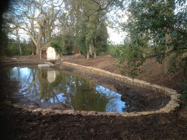 Bath Pools Stone Wall Progress