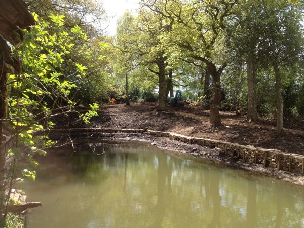Restored Bath Pools Stone Walls Before Refilling